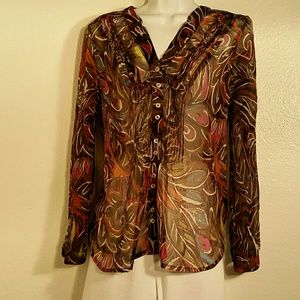 Christopher & Banks Sheer Abstract Blouse. M